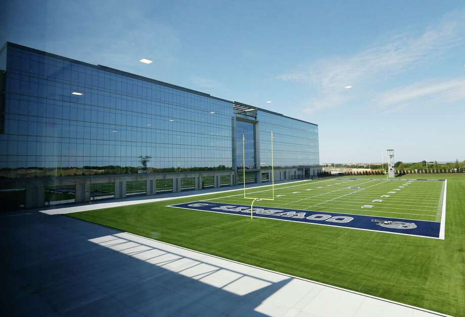 One of the two practice fields at the Cowboys' new headquarters in Frisco is pictured Sunday, the first day the team used the facilities at the complex that will ultimately cost more than $1 billion. Photo: Vernon Bryant / Associated Press / THE DALLAS MORNING NEWS
