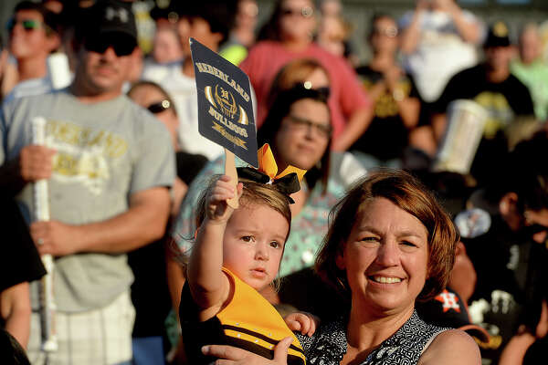 Fans of all ages show their spirit during a city-wide pep rally held at Nederland's Bulldog Stadium to kick off the start of the 2016 football season.  Photo taken Tuesday, August 23, 2016 Kim Brent/The Enterprise
