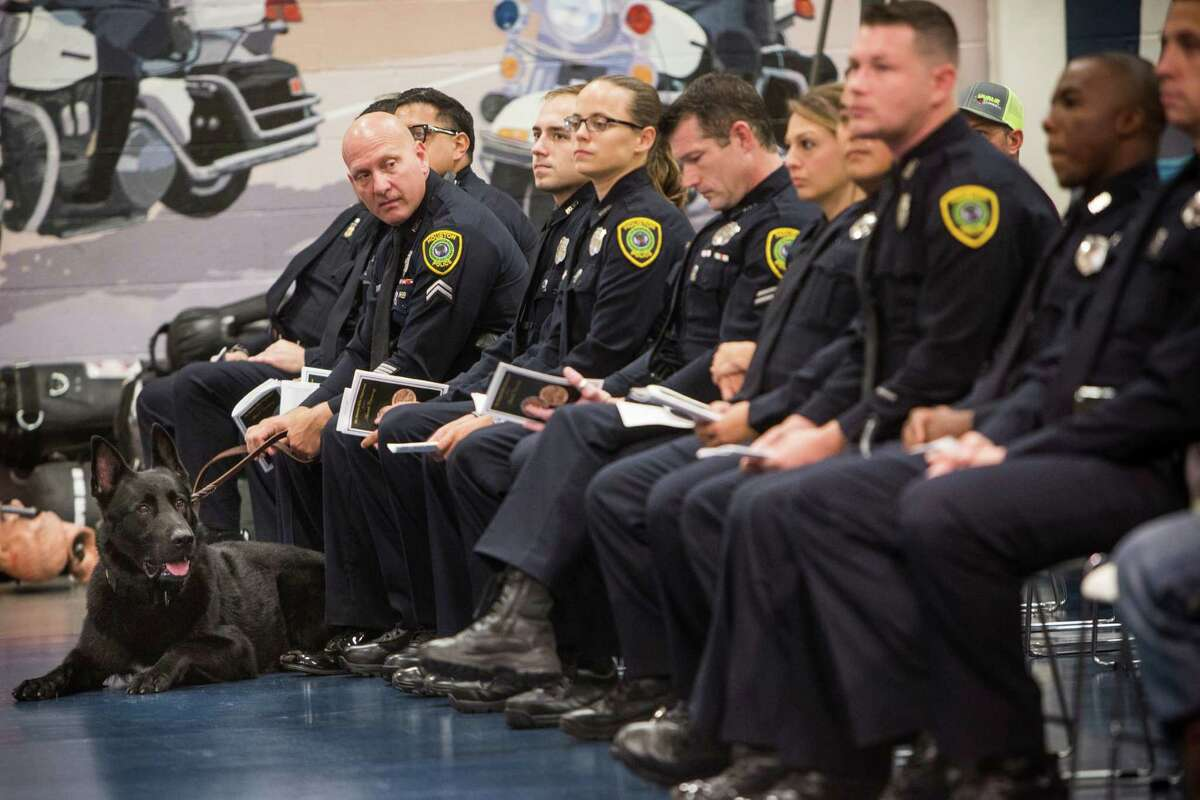 Retired K-9 officer Bear lies on the floor with Sr. Officer Eric Newman before both were awarded with the Life Saving Award during the Houston Police Department Award Ceremony on Tuesday, Aug. 23, 2016, in Houston.