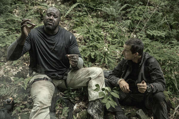 "Basketball legend Shaquille O'Neal appears on NBC's ""Running Wild with Bear Grylls"" in the Adirondack Park at 10 p.m. Monday, Aug. 29, 2016. (Ben Simms/NBC)"