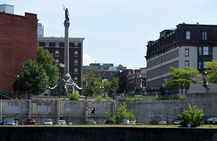 Troy's Monument Square and the former city hall site are viewed from the Hudson River on Friday, Aug. 5, 2016, in Troy, N.Y. (Will Waldron/Times Union) Photo: Will Waldron