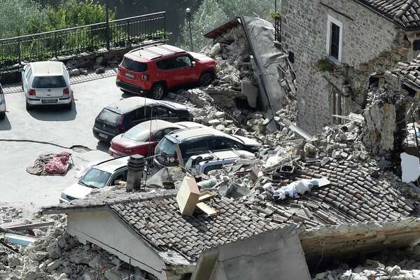 A general view of Pescara del Tronto town destroyed by the earthquake on August 24, 2016 in Pescara del Tronto, Italy. Central Italy was struck by a powerful, 6.2-magnitude earthquake in the early hours, which has killed at least thirty seven people and devastated dozens of mountain villages. Numerous buildings have collapsed in communities close to the epicenter of the quake near the town of Norcia in the region of Umbria, witnesses have told Italian media, with an increase in the death toll highly likely  (Photo by Giuseppe Bellini/Getty Images)