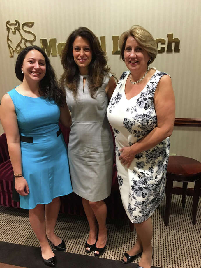 Justine Rella, Registered Client Associate, Merrill Lynch; Gina Douvas, Vice President in the Global Wealth and Investment Management Division of Merrill Lynch; Carol Heller, Senior Vice President, Market Manager - Southern CT, Enterprise Business & Community Engagement, Bank of America. Photo Courtesy of Bridgeport Hospital Photo: Contributed