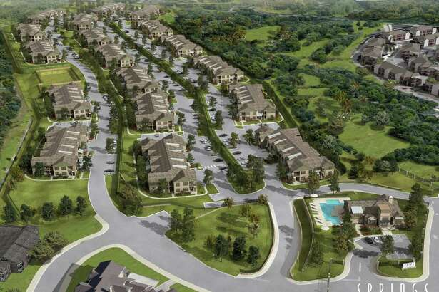 The $46 million Springs at Stone Oak Village apartment complex — shown in a 2012 renderings — has been sold to a company linked to two real estate investment firms from across the state.