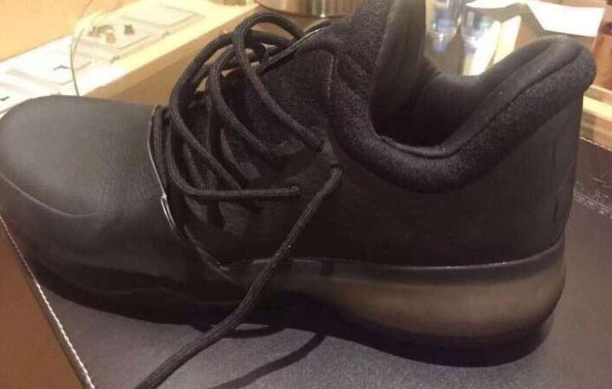 """James Harden's first signature shoe from adidas isn't supposed to be released until December, but the """"Triple Black"""" colorway leaked Tuesday."""