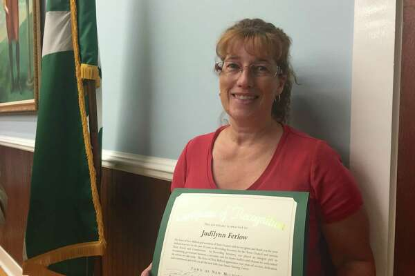 Judilynn Ferlow received a proclamation from the town after she retired Monday.