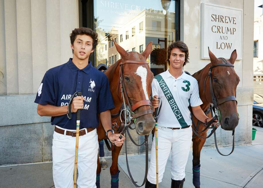 The East Coast Open is considered the biggest polo tournament of the summer in the United States. It takes place at Greenwich Polo Club and will feature eight of the best polo teams in the world. Matches are open to the public on August 28, September 4 and September 11. A draw party, held at Shreve, Crump & Low in Greenwich on August 23, 2016, is decided each polo teams' placement in the tournament. Two polo players and polo ponies greeted the public outside on Greenwich Avenue to kick-off the polo tournament. Photo: Chichi Ubina