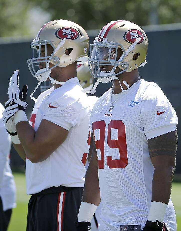 DeForest Buckner (right) and Arik Armstead. Photo: Jeff Chiu, Associated Press