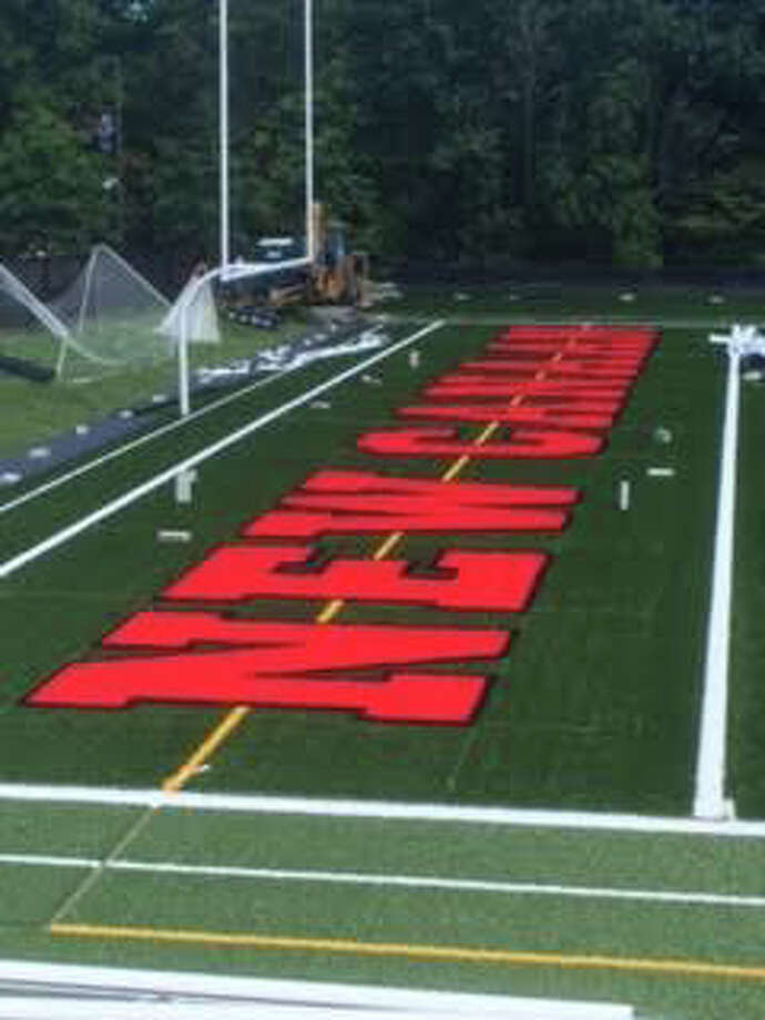 The endzone at Dunning Stadium after the new turf job. Photo: Contributed Photo / New Canaan News