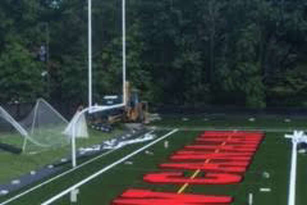 The endzone at Dunning Stadium after the new turf job.