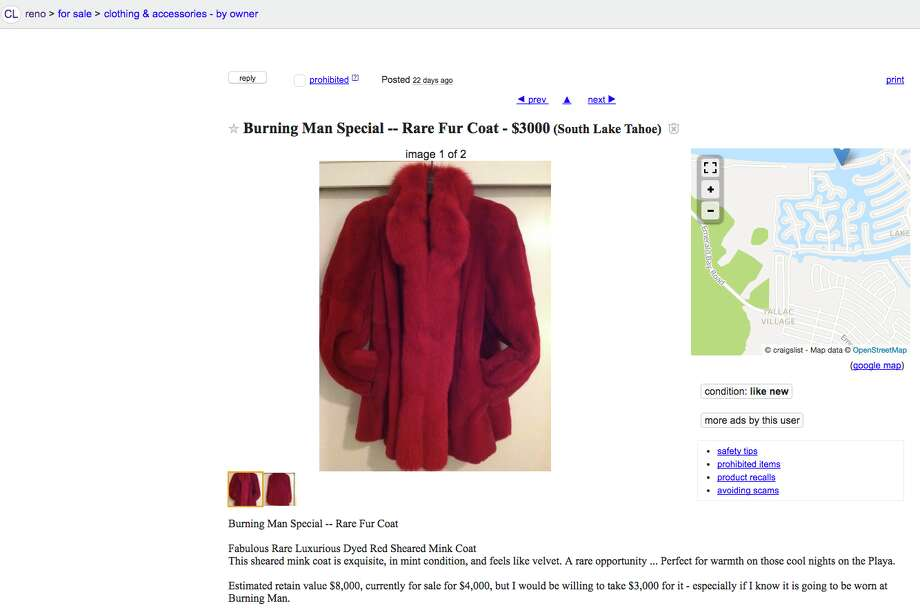 "Despite the ""estimated retain value of $8,000,"" the owner of this red fur coat (probably Macklemore) is willing to sell it to Burners for $3,000. Photo: Screenshot"
