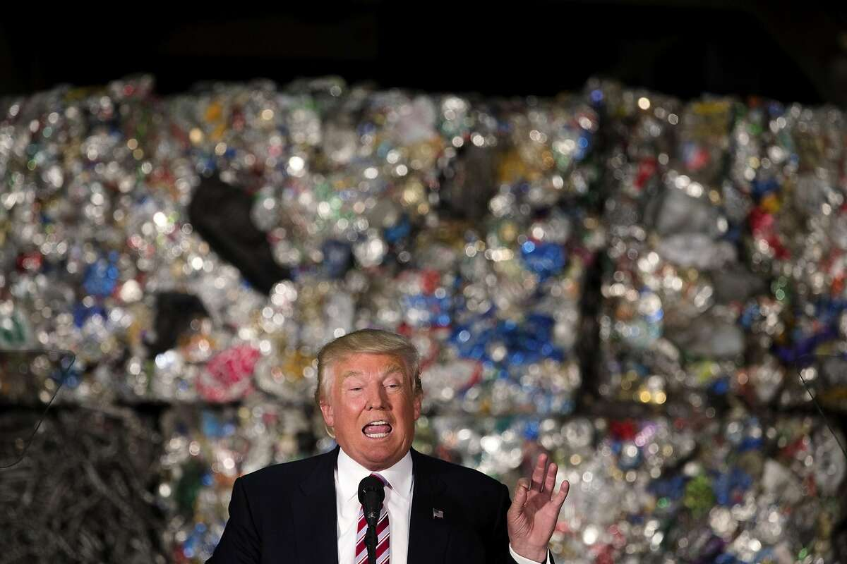Donald Trump, the presumed Republican presidential nominee, speaking at Alumisource, a steel industry firm, in Monessen, Pa., June 28, 2016. Trump vowed to rip up international trade deals and start an unrelenting offensive against Chinese economic practices, framing his contest with Hillary Clinton as a choice between nationalism and the policies of �a leadership class that worships globalism.� (Hilary Swift/The New York Times)