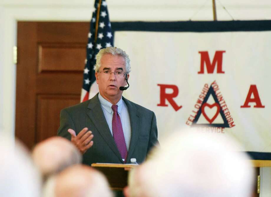 Greenwich Representative Town Meeting (RTM) Moderator Thomas Byrne speaks during the Retired Men's Association weekly speaker series at First Presbyterian Church in Greenwich, Conn. Wednesday, Aug. 24, 2016. Byrne discussed the history of the RTM and how it plays a part in local government, as well as his role as moderator. Photo: Tyler Sizemore / Hearst Connecticut Media / Greenwich Time