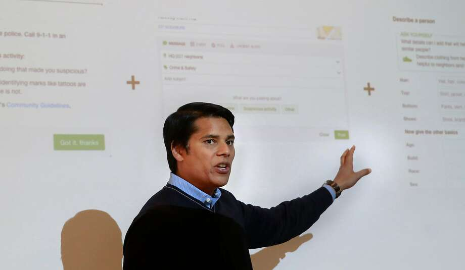 Nextdoor CEO Nirav Tolia talks to reporters at the company's headquarters in S.F. about changes the social network is making to deal with posts some call race-based fear-mongering. Photo: Michael Macor, The Chronicle
