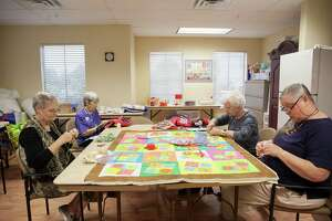 Members of the Quilt-a-Beasts, a group of six women who meet every Monday morning to work on quilts that are donated to CPS for abused and neglected children Monday Aug.15, 2016 at Villa De San Antonio Independent Living. Within the past four years, the quilting bee has completed and delivered 1,053 quilts with the help and donations of the Greater San Antonio Quilt Guild and support from Villa De San Antonio Independent Living.