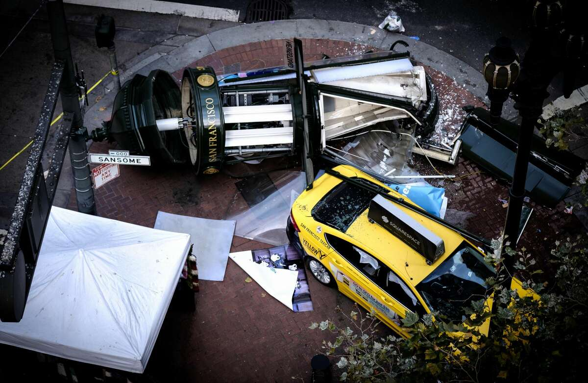 The aftermath of an accident involving a taxi cab on Market Street in San Francisco that sent three people to the hospital on Tuesday, August 23, 2016.