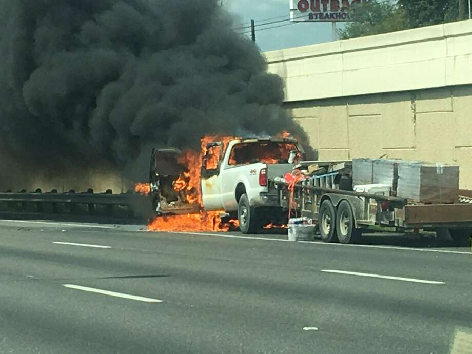Firefighters are currently responding to a vehicle fire on Interstate 10 near De Zavala Road on Aug. 24, 2016. Photo: April Ancira