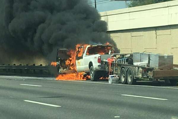Firefighters are currently responding to a vehicle fire on Interstate 10 near De Zavala Road on Aug. 24, 2016.