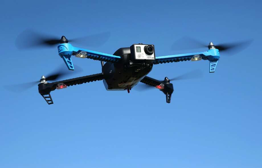 A drone with a camera mounted in front flies above Brisbane, Calif. on Friday, Feb. 27, 2015. Photo: Paul Chinn, The Chronicle