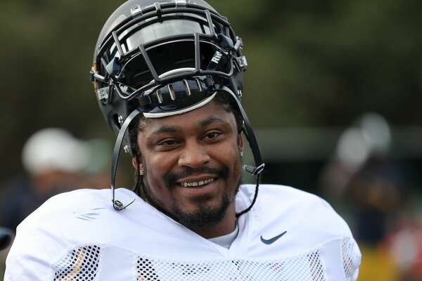Former Seahawks running back Marshawn Lynch practices with the Cal Bears during a trip to Sydney, Australia, on August 23, 2016.