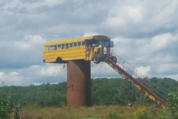 Jesse Kauffman built a dirt ramp to situation a 66-passenger school bus atop a fuel barrel for a deer stand.