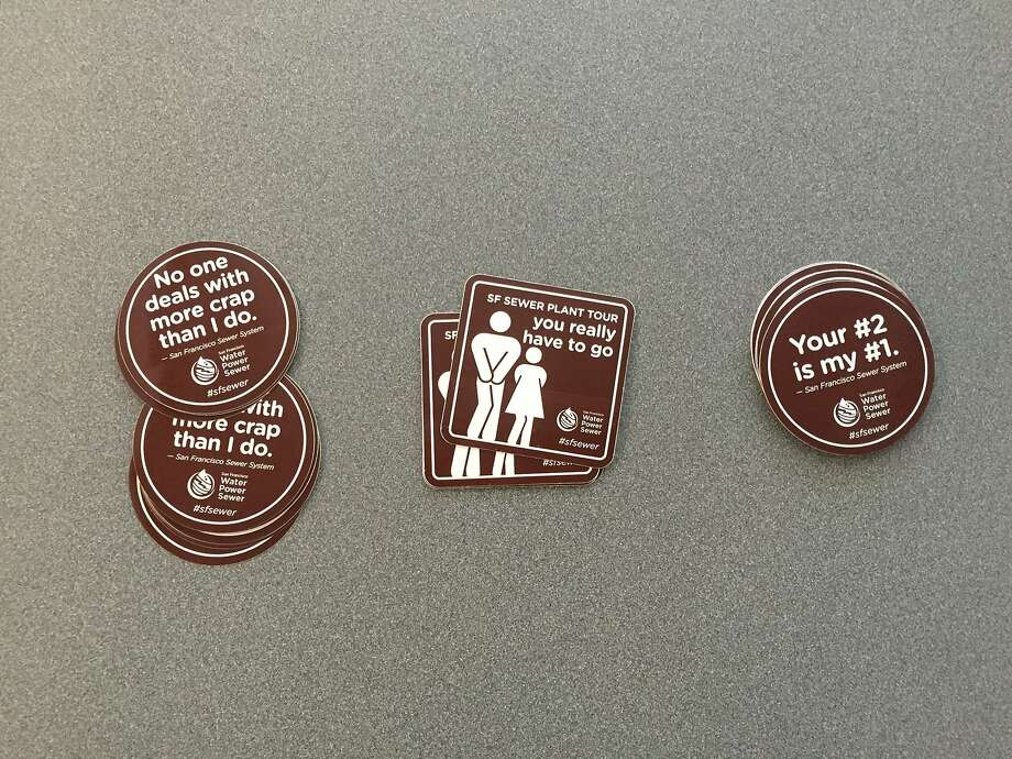 Some handy stickers at San Francisco's Oceanside Wastewater Treatment Plant. Photo: Beth Spotswood