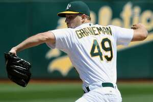 OAKLAND, CA - AUGUST 24:  Kendall Graveman #49 of the Oakland Athletics pitches against the Cleveland Indians in the top of the first inning at the Oakland Coliseum on August 24, 2016 in Oakland, California.  (Photo by Thearon W. Henderson/Getty Images)