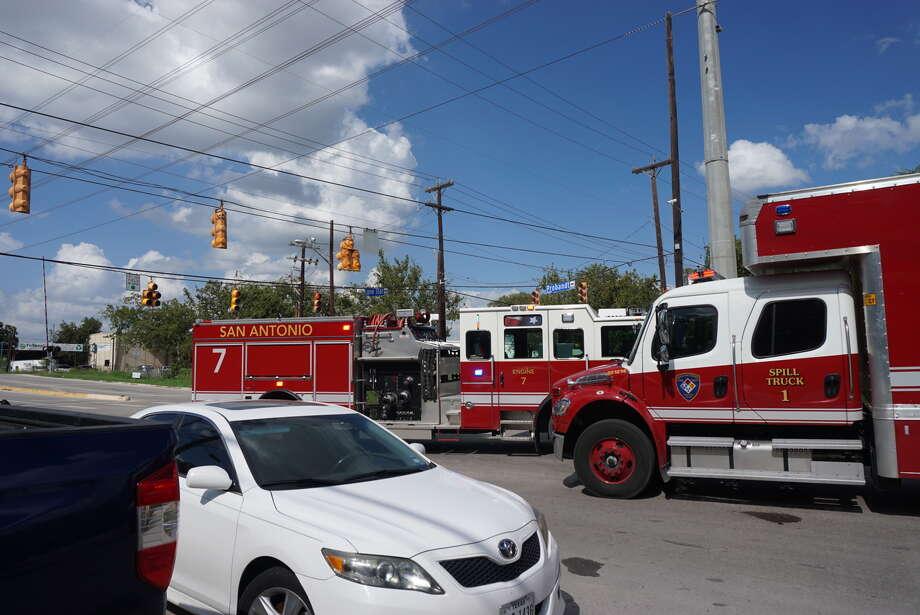 Truck Overturns Downtown Spilling Fuel Scrap San