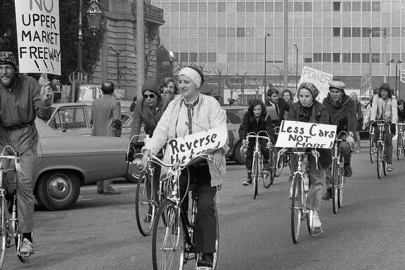 Jan. 12, 1972: San Francisco bicyclists protest in front of City Hall. They were seeking a dedicated bike lane on Market Street.