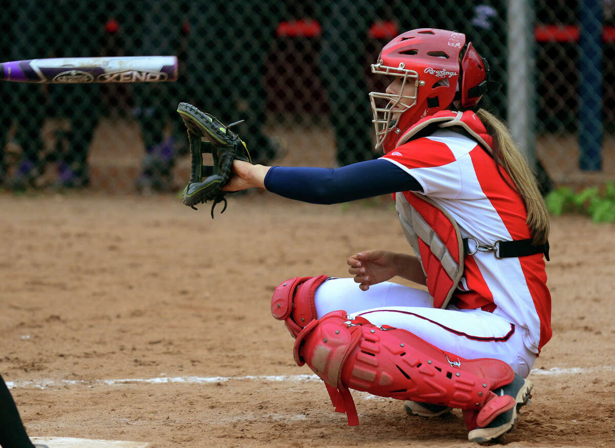 Former Foran catcher Dani Kemp in action against Jonathan Law in 2014. Kemp, who made two all-state teams at Foran and just wrapped up her first year with the Stratford Brakettes, was recently diagnosed with an inoperable brain tumor.