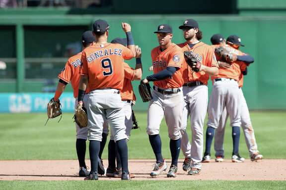PITTSBURGH, PA - AUGUST 24:  The Houston Astros celebrate after defeating the Pittsburgh Pirates by a score of 5-4 at PNC Park on August 24, 2016 in Pittsburgh, Pennsylvania.
