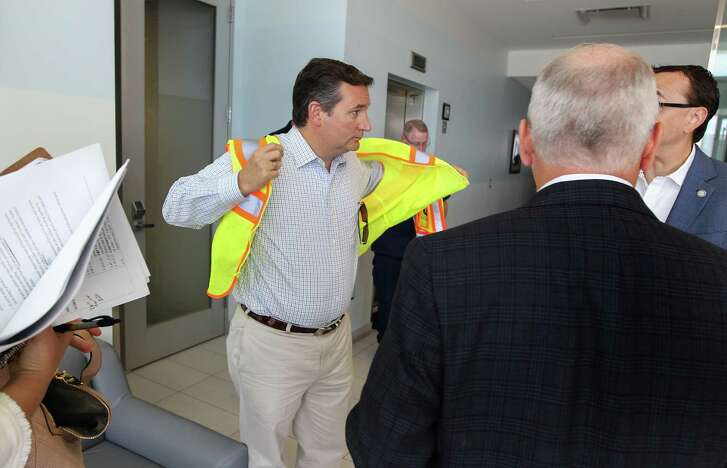 Sen. Ted Cruz prepares to go on a tour of the Port of Houston with port officials and community leaders Tuesday in Pasadena.  (Steve Gonzales / Houston Chronicle)