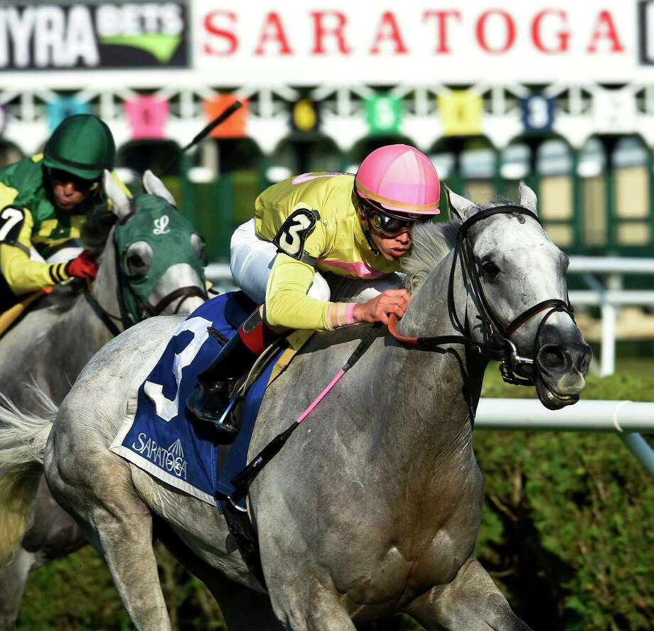 Mr Maybe with jockey Irad Ortiz Jr. is guided to the finish line in first position winning the 13th running of The John's Call Wednesday August 24, 2016 at the Saratoga Race Course in Saratoga Springs, N.Y.    (Skip Dickstein/Times Union) Photo: SKIP DICKSTEIN