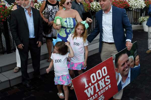 Trainer Chad Brown, right is surrounded by family and friends after he recorded his 1000th win with Mr Maybe in the 13th running of The John's Call Wednesday August 24, 2016 at the Saratoga Race Course in Saratoga Springs, N.Y.    (Skip Dickstein/Times Union)