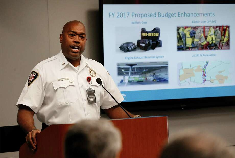 Fire Chief Charles Hood presents the San Antonio Fire Department's proposed budget enhancements during the City Council's special session regarding the 2017 city budget on Wednesday, Aug. 24, 2016. (Kin Man Hui/San Antonio Express-News) Photo: Kin Man Hui, Staff / San Antonio Express-News / ©2016 San Antonio Express-News