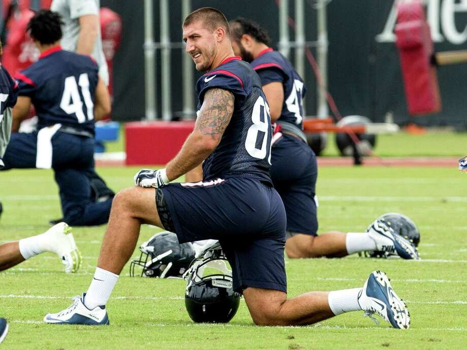 Texans tight end C.J. Fiedorowicz stretches during OTAs at the Methodist Training Center on May 31, 2016, in Houston. Photo: Brett Coomer /Houston Chronicle / © 2016 Houston Chronicle
