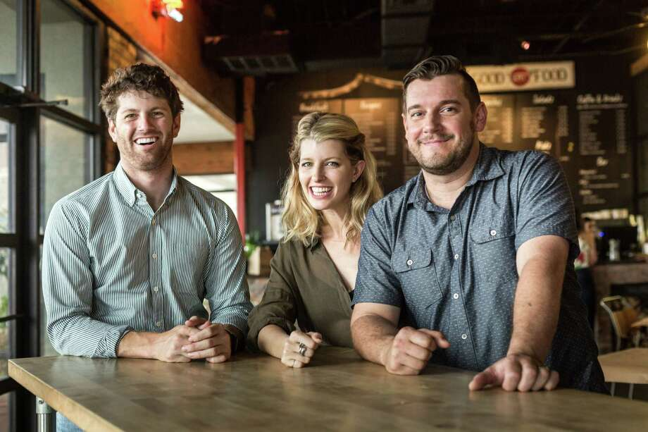 Nick Adair, Katie Adair Barnhart and chef Joseph Stayshich of Eloise Nichols Grill & Liquors. The Adair Family Restaurants Group is opening Eloise Nichols Grill & Liquors on Sept. 19 at 2400 Mid Lane in River Oaks. The group also soon will open Bebidas Juice, Coffee & Bites at 2606 Edloe. Photo: Jill Hunter / Jill Hunter