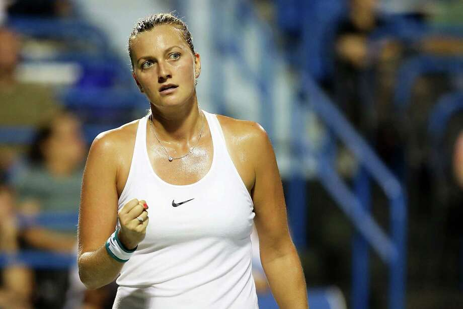 NEW HAVEN, CT - AUGUST 24:  Petra Kvitova of the Czech Republic reacts during her match against Eugenie Bouchard of Canada on day 4 of the Connecticut Open at the Connecticut Tennis Center at Yale on August 24, 2016 in New Haven, Connecticut.  (Photo by Adam Glanzman/Getty Images) Photo: Adam Glanzman / Getty Images / 2016 Getty Images