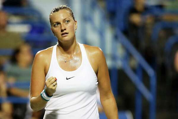 NEW HAVEN, CT - AUGUST 24:  Petra Kvitova of the Czech Republic reacts during her match against Eugenie Bouchard of Canada on day 4 of the Connecticut Open at the Connecticut Tennis Center at Yale on August 24, 2016 in New Haven, Connecticut.  (Photo by Adam Glanzman/Getty Images)