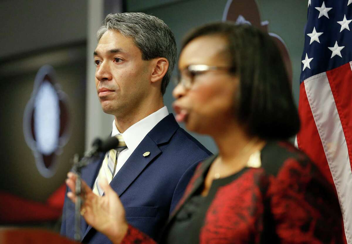 District 8 Councilman Ron Nurinberg (left) stands beside Mayor Ivy Taylor as they address the media after San Antonio City Council approved the city's three SA Tomorrow plans Aug. 11 restoring environmental proposals to the master-planning documents that were in danger of being removed but also thwarting efforts by Nirenberg to reinstate a litany of other provisions.