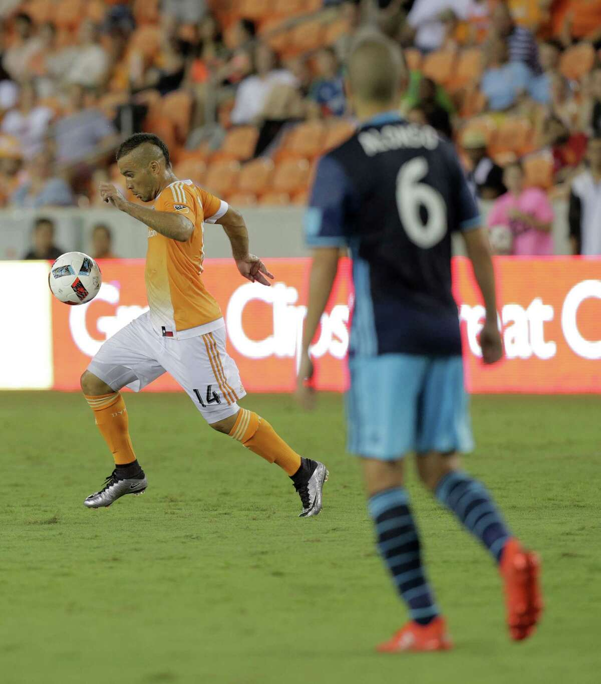 Houston Dynamo midfielder Alex (14) controls the ball in the second half of MLS game action against Seattle Sounders on Wednesday, Aug. 24, 2016, in Houston.