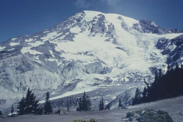 The Nisqually Glacier on Mount Rainier in Mount Rainier National Park, Washington State, USA, circa 1960. (Photo by Archive Photos/Getty Images)