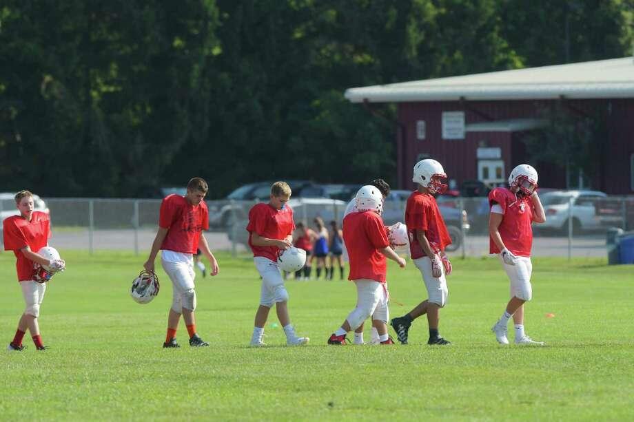 Guilderland High School football players take part in practice on Wednesday, Aug. 24, 2016, in Guilderland, N.Y.  (Paul Buckowski / Times Union) Photo: PAUL BUCKOWSKI / 20037763A