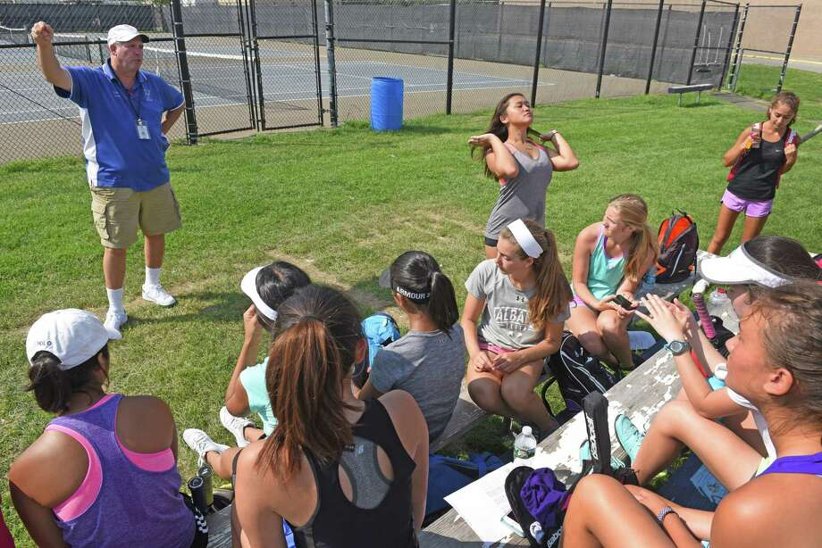 Head coach Gerry Cuva talks with his team as the Shaker High School girl's tennis team practices on Wednesday Aug. 24, 2016 in Colonie, N.Y. (Michael P. Farrell/Times Union) Photo: Michael P. Farrell / 20037761A