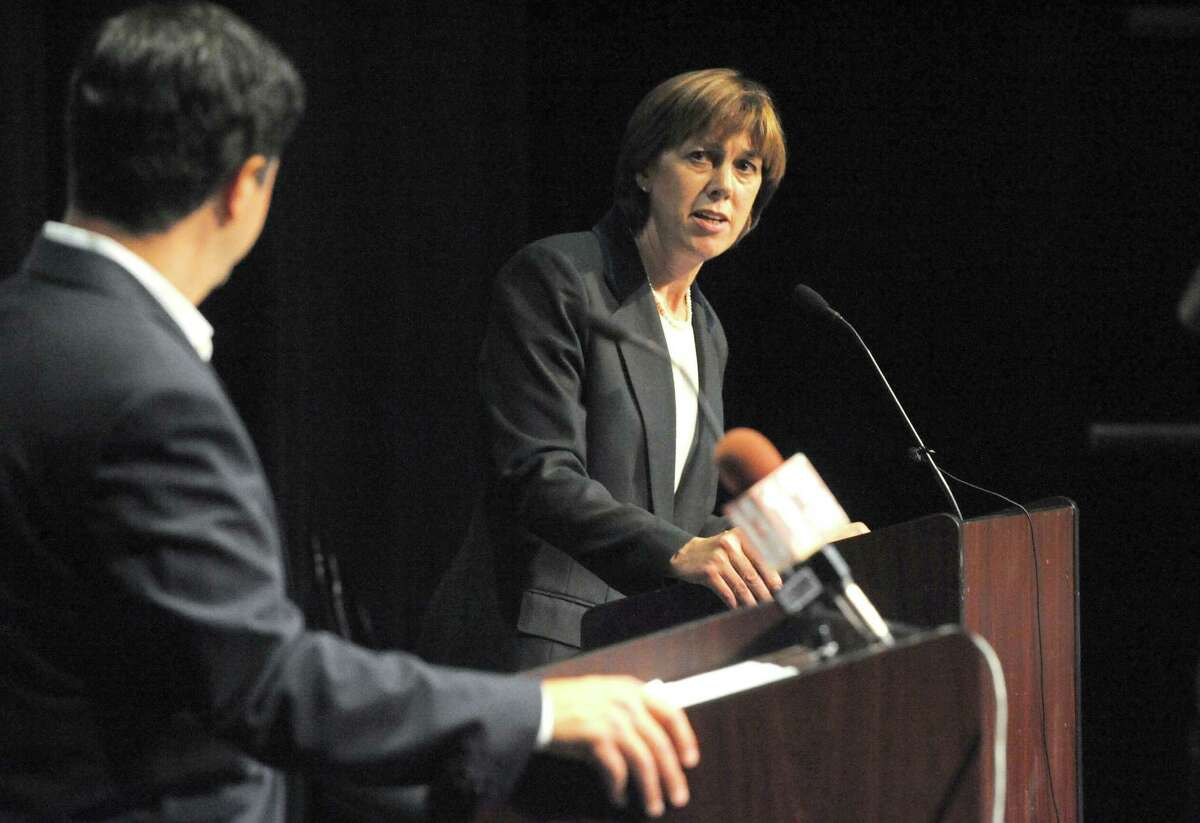 Republican candidate George Amedore and incumbent Sen. Cecelia Tkaczyk hold a debate for the 46th Senate District at the Proctors GE Theater on Tuesday Sept. 23, 2014 in Schenectady, N.Y. (Michael P. Farrell/Times Union)