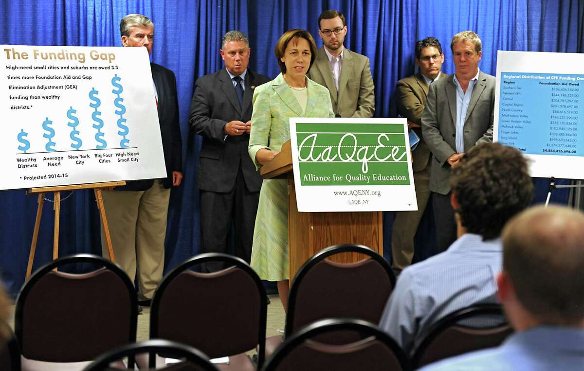 Senator Cecilia Tkaczyk speaks about the underfunding of schools in New York State during a press conference at the Legislative Office Building on Thursday, Aug. 7, 2014 in Albany, N.Y. (Lori Van Buren / Times Union)