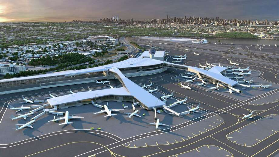 Key features of the new LaGuardia Central include pedestrian bridges over the active taxi lanes with sweeping views of the airfield and the Manhattan skyline beyond.  (PRNewsFoto/LaGuardia Gateway Partners) Photo: Associated Press / LAGUARDIA GATEWAY PARTNERS