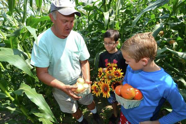 Hour File Photo/Alex von Kleydorff At Offingers Farm in Wilton, Don Offinger, Cannon Grange Treasurer shows 9-year-old Elijah Llanos and 9-year-old Liam Keliehor some of the harvest of vegetables and flowers from his farm in Wilton, Conn.