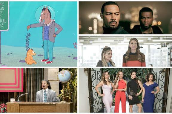 "Clockwise from left: ""BoJack Horseman"" (Netflix), ""Power"" (Starz), ""Younger"" (TV Land), ""Devious Maids"" (Joseph Viles, Lifetime), "" ""The Eric Andre Show"" (Trae Patton, Adult Swim)."