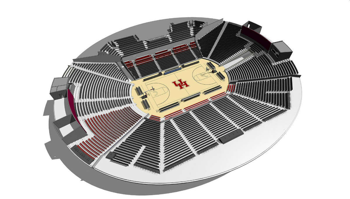 A rendering of the inside of the renovated Fertitta Center at UH.